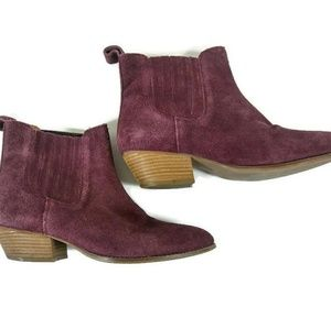 Raspberry Suede Leather Ankle Boots